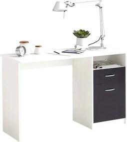 Bureau met 1 lade 123x50x76,5 cm wit en zwart