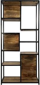 Wandkast Levels - naturel/zwart - 178x78x35 cm - Leen Bakker