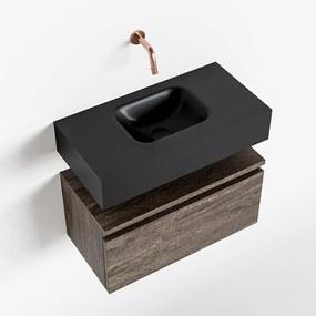 MONDIAZ ANDOR 60cm toiletmeubel dark brown. LEX 60cm wastafel urban midden geen kraangat