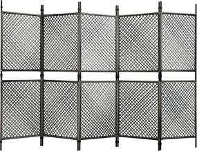 Kamerscherm met 5 panelen 300x200 cm poly rattan antraciet