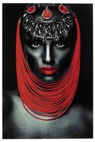 Kare Design Lady Red Lips Glas Schilderij Portret 80x120