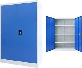 Kantoorkast 90x40x140 cm metaal grijs en blauw