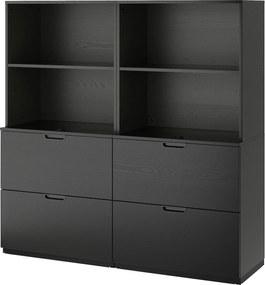 IKEA GALANT Opbergcombi met hangmappenhouder 160x160 cm Zwartgebeitst essenfineer Zwartgebeitst essenfineer - lKEA
