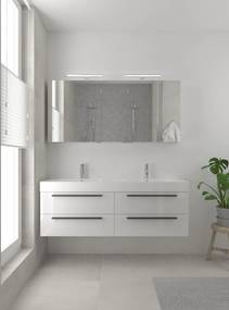 Bando badmeubelset 150 cm | Dubbele wasbak | spiegelkast | zwarte greeplijst- glans wit