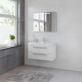 Bruynzeel Bando badmeubelset 90x55x45cm met spiegel aluminium greeplijst mat wit 616611K