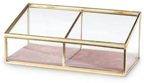 Bijouxdoos - 2- vaks - goud/roze - 18x9,5x7 cm