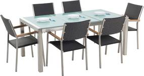 Tuinset matglas/RVS driedelig tafelblad 180 x 90 cm met 6 stoelen zwart rotan GROSSETO