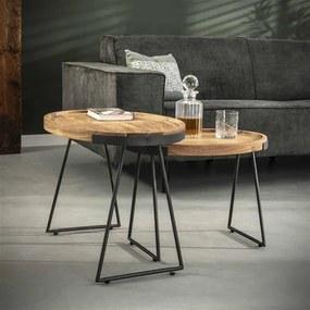 Dimehouse | Bijzettafel Brick lengte 47 cm x breedte 66 cm x hoogte 48 cm bruin, grijs bijzettafels acaciahout tafels meubels | NADUVI outlet