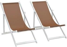 Strandstoelen inklapbaar 2 st aluminium en textileen bruin