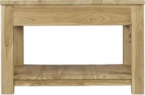 Teak salontafel met lade en onderblad | Vierkant | 50 x 50 x 45 cm