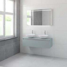Bruynzeel Giro badmeubelset 49x120x46cm 2 wasbakken 1 lade met spiegel met softclose composite fjord groen 123102524