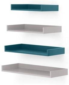 MADE Essentials Yumi set van 4 wandplanken, grijs en blauw