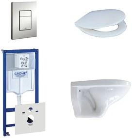 Adema Classico toiletset bestaande uit inbouwreservoir, toiletpot, toiletzitting en bedieningsplaat mat chroom 0729205/0261520/4345100/0720002