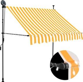 Luifel handmatig uittrekbaar met LED 100 cm wit en oranje