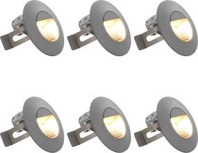 LED-buitenwandlampen 6 st 5 W rond zilverkleurig