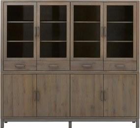 Goossens Buffetkast Malaga, 4 glasdeuren 4 dichte deuren 4 laden