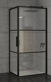 Riho Grid douchecabine 90x100x200cm 1 draaideur zwart profiel en helder glas GB2090100
