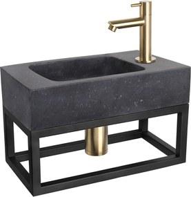 Fonteinset Differnz Force Rechthoek 40x22.5x24.5cm Bombai Natuursteen Zwart Handdoekrek Recht Toiletkraan Clickwaste Sifon Geborsteld Goud