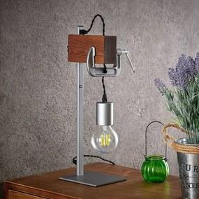 Asya tafellamp, hout, chroom - lampen-24