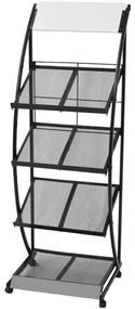 Tijdschriftenrek zwart en wit 47x40x134 cm A4