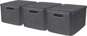 Opbergboxen met deksel 3 st Style L antraciet