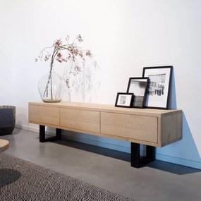 Industriële eikenhouten tv-meubel Clichy