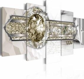 Schilderij - Sleutel naar een andere dimensie , wit goud look , 5 luik