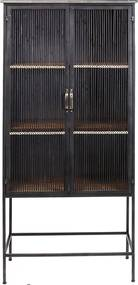 Kare Design Bamboo Zwarte Kast Van Metaal En Rotan - 72x40x158cm.