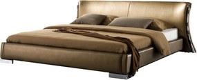 Lederen bed / goud met led-verlichting 160 x 200 cm. PARIS