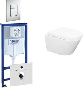 Wiesbaden Vesta Rimfree toiletset bestaande uit inbouwreservoir, toiletpot met softclose toiletzitting en bedieningsplaat RVS 0729205/SW65812/0720026