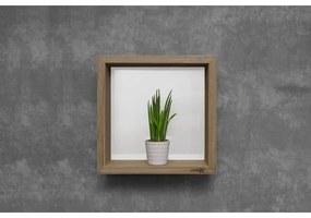 Looox Wooden collection wand box 30x30cm met achterplaat wit eiken mat wit wbox30mw