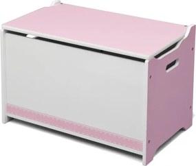 Opbergkist hout roze 40 x 34 x 62 cm