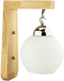 Vintage Wandlamp Hout Design Met Glazen Lampenkap