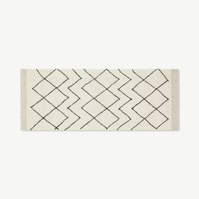Masali wollen loper in Berber stijl, 80 x 200 cm, roomwit