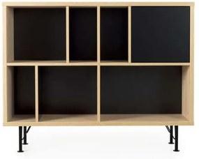 Tenzo boekenkast Flow 1 deur - eikenkleur/zwart - 91x115x31 cm - Leen Bakker