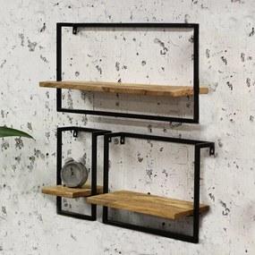 Dimehouse | 3x Nox Wandrek lengte 20 cm x breedte 70 cm x hoogte 35 cm bruin wandplanken & -haken hout, metaal decoratie | NADUVI outlet