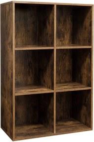 Nancy´s boekenkast - 6 vakken - Kubusvormige kast - Opbergkast - Boekenkast - Vintage - Spaanplaat - Donkerbruin - 65,5 x 30 x 97,5 cm