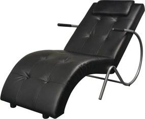 Chaise longue met kussen kunstleer zwart