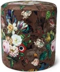 Essenza Giselle poef van velvet met bloemenprint