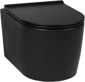 Trend Hangtoilet met toiletbril compact Rimless mat zwart