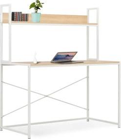 Computerbureau 120x60x138 cm wit en eikenkleurig