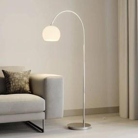 Cynthia boogvloerlamp, glas, mat nikkel - lampen-24