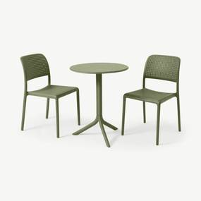 Nardi bistroset met 2 stoelen, glasvezel en hars, olijfgroen