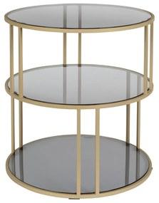 Dutchbone Torn Gouden Bijzettafel Met Donker Glas - 45 X 45cm.
