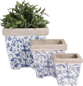 Keramiek bloempot set van 3 blauw