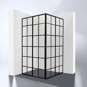 Douchecabine Black-Corner Vierkant Hoekinstap Schuifdeur 99x99x210cm Helder Glas Zwart Profiel 4mm Veiligheidsglas Easy Clean