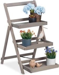 Plantentrap hout - plantenetagere 3 etages - inklapbaar - plantenrek - grijs