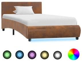 Bedframe met LED stof bruin 90x200 cm