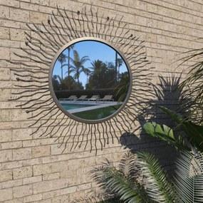 Tuin wandspiegel sunburst 80 cm zwart