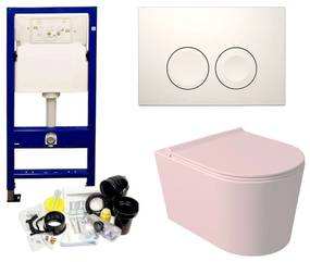 Geberit UP100 Toiletset Set52 Wandcloset Salenzi Civita Mat Roze en Delta Drukplaat